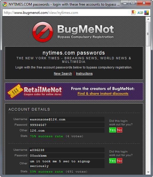 Bugmenot Passwords That Work
