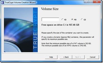 truecrypt volume size