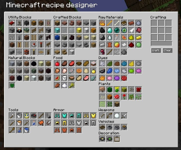 Free minecraft resources get the most out of minecraft - Minecraft crafting table recipes list ...