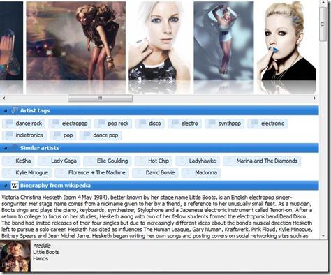 Clementine Artist info Screenshot