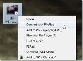 FlicFlac Screenshot3 - context menu