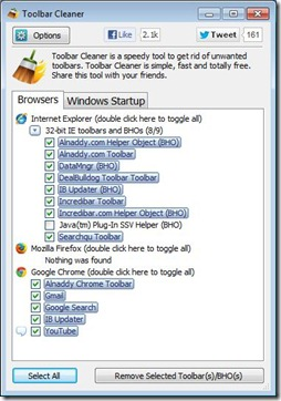 Toolbar Cleaner Screenshot