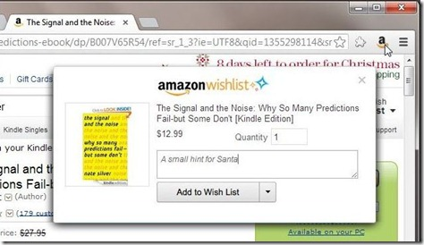 Amazon wishlist extension screenshot
