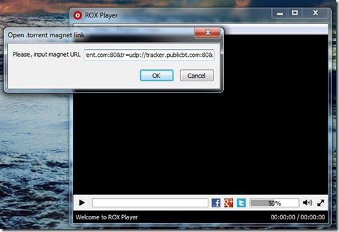 Rox Player Screenshot2 - adding magnet link