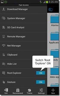 ES File Explorer root access step 2