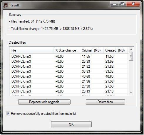 MP3 Quality Modifier screenshot2 - result